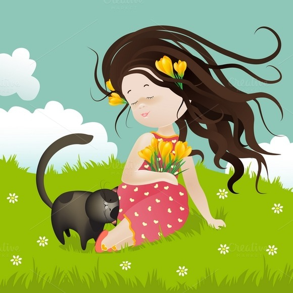 Girl With Cat Sitting On Grass