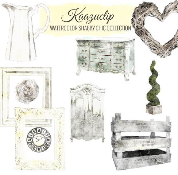 Watercolor Shabby Chic Collection