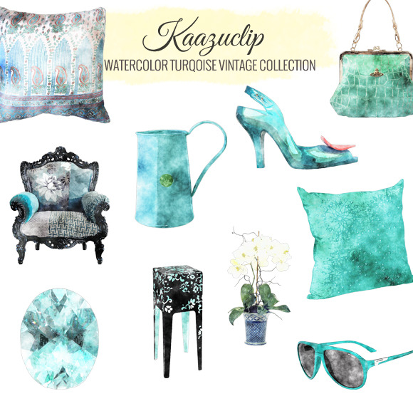 Watercolor Turquoise Vintage Coll