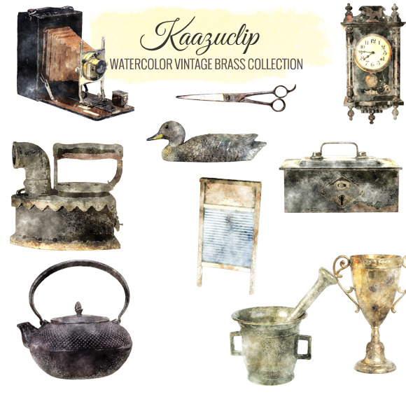 Watercolor Vintage Brass Collection