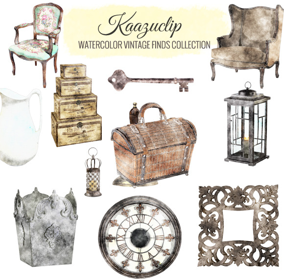 Watercolor Vintage Finds Collection