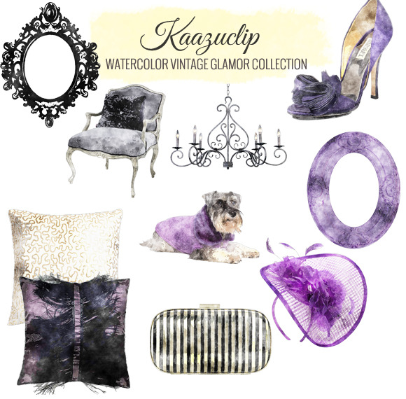 Watercolor Vintage Glamour
