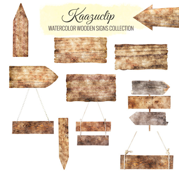 Watercolor Wooden SIgns Collection