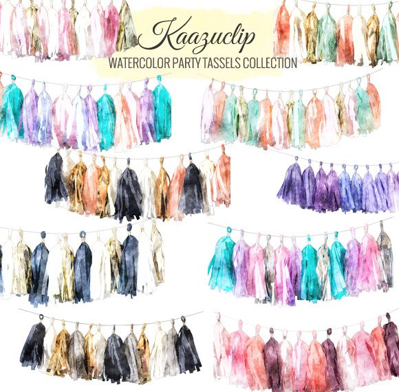 Watercolor Party Tassels Collection