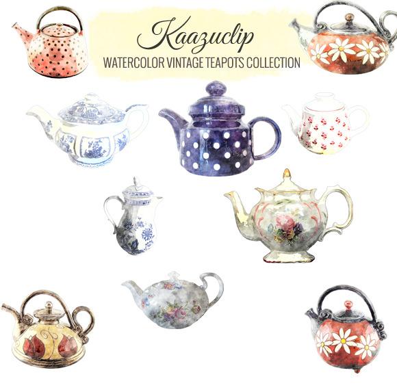 Watercolor Vintage Teapots Collectio