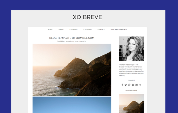 CLEAN BLOGGER TEMPLATE XO BREVE