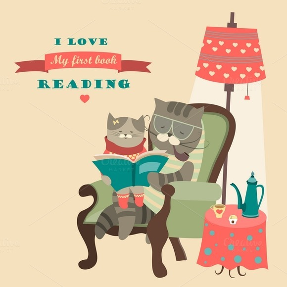 Cat And Kitten Reading Book