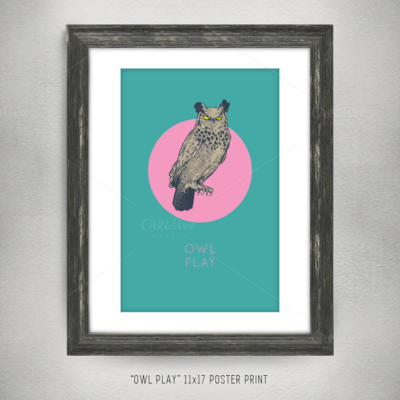 Owl Play 11x17 Vector Art Poster