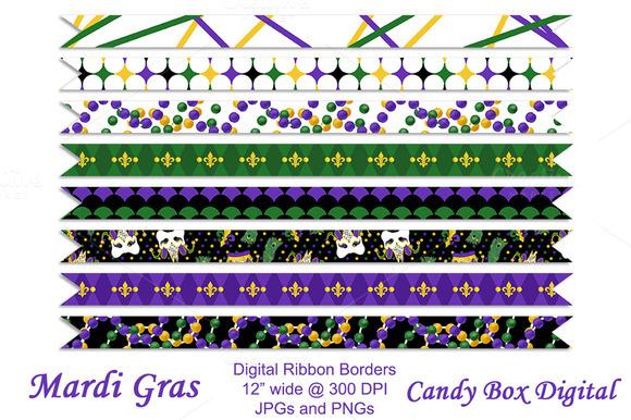 Mardi Gras Ribbon Borders