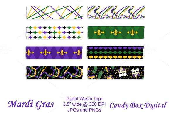 Mardi Gras Digital Washi Tape