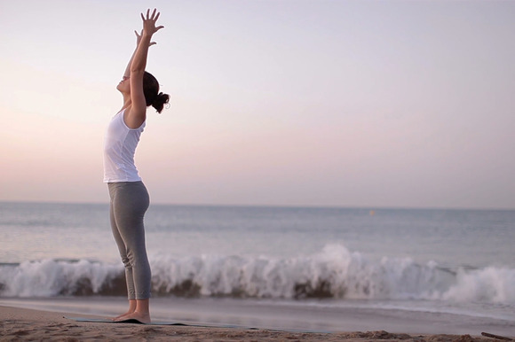 Beach Yoga Stock Footage Clip