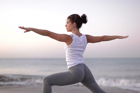 Beach Yoga Stock Footage Clip