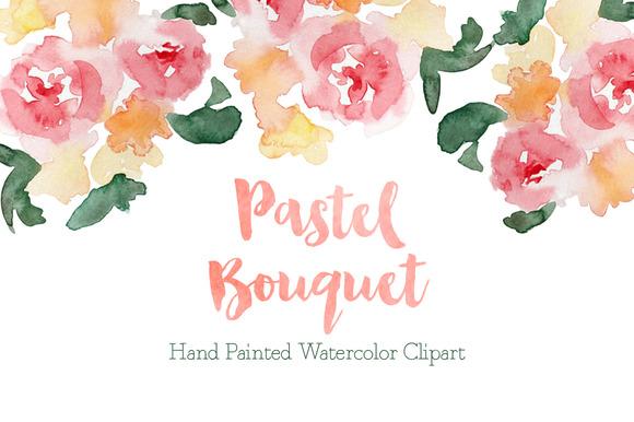 Pastel Watercolor Bouquet Clipart