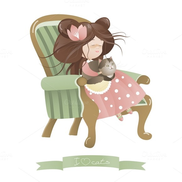Cute Girl With Cat Sitting In Chair