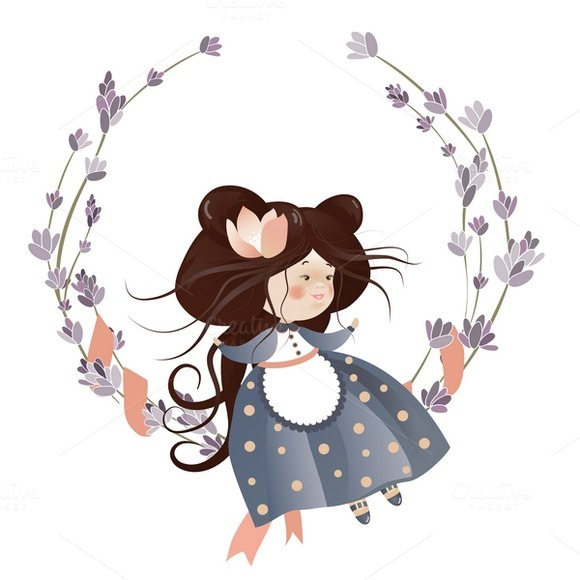 Cute Girl In Flower Wreath