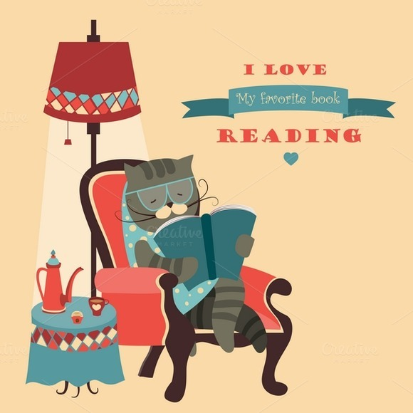 Cat Reading Book Sitting In A Chair