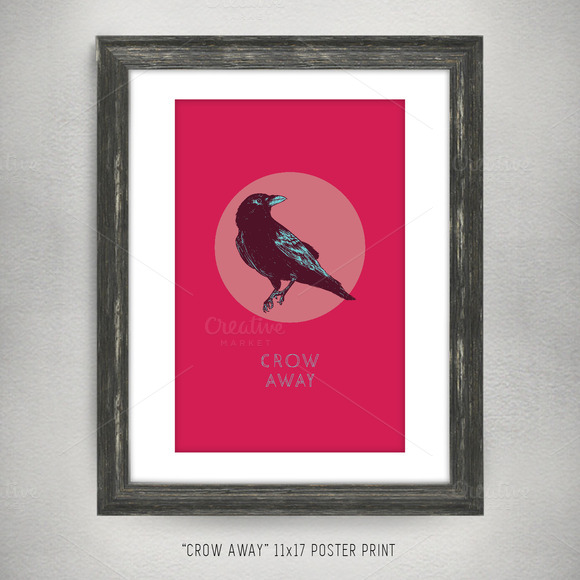 Crow Away 11x17 Vector Art Poster