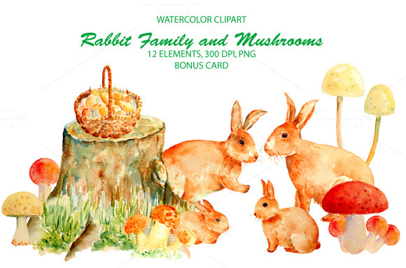 Watercolor Rabbit Famly Mushrooms