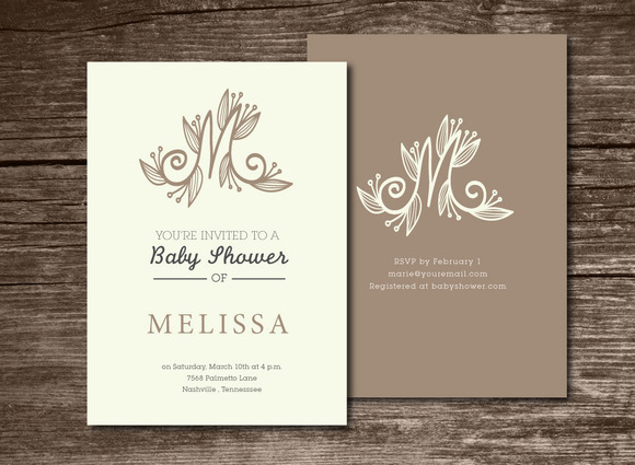 Baby Shower Invitation Initial