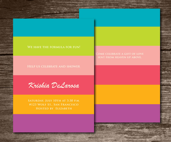 Baby Shower Invitation Stripes