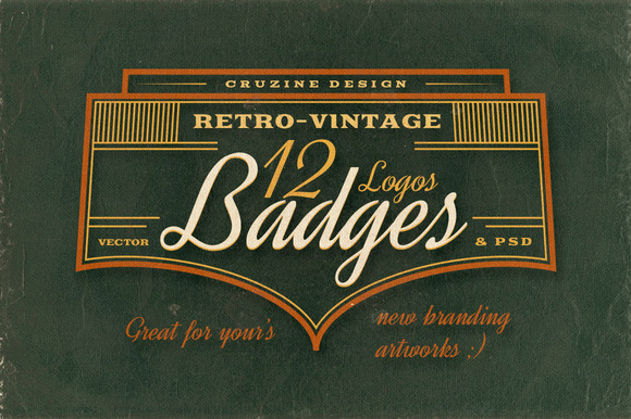 12 Retro Vintage Badges