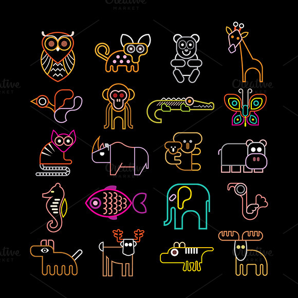 Set Of Neon Animal Icons