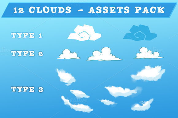 12 Clouds Game Assets Pack