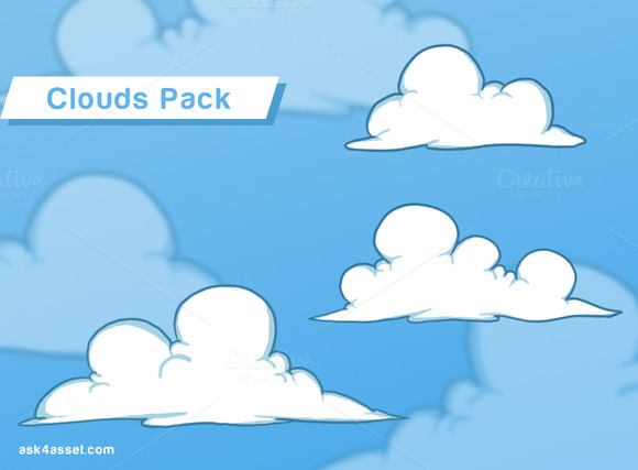 3 Clouds Game Assets Pack