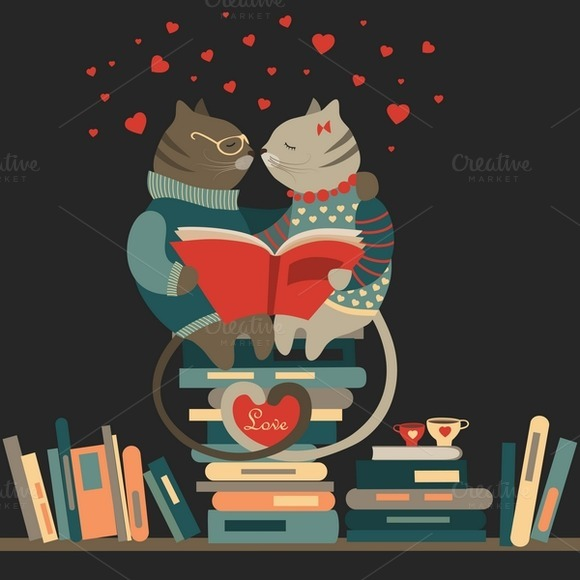 Cute Cats In Love Reading A Book