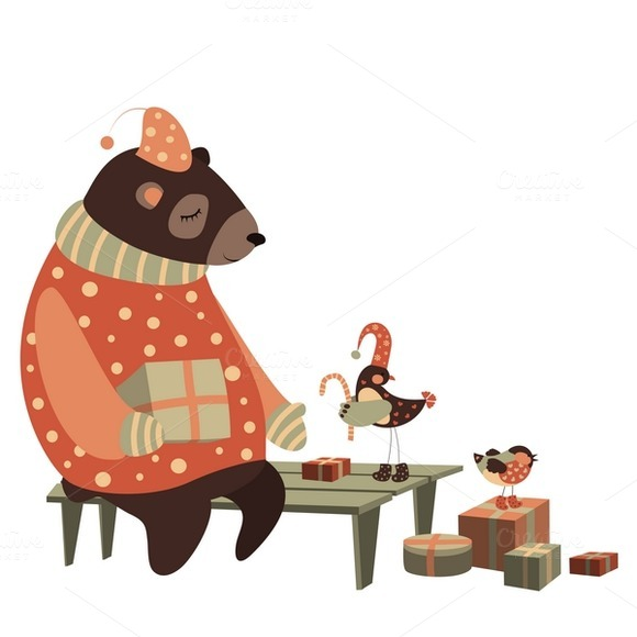 Bear And Bird Celebrate Christmas