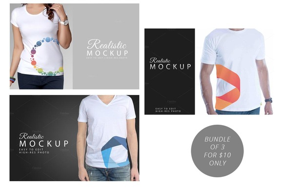 REALISTIC TSHIRT MOCKUP BUNDLE OF 3