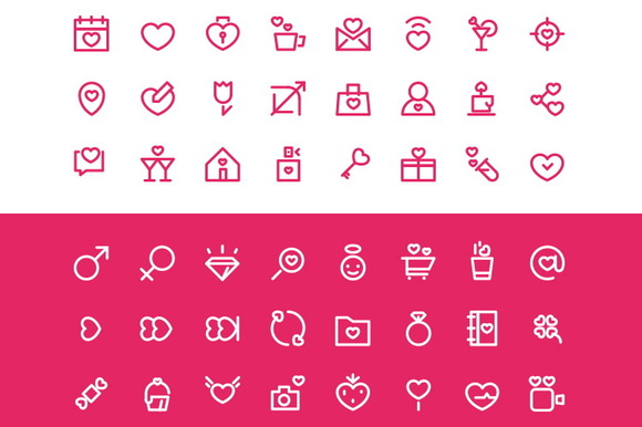 Spring Love Icons Set