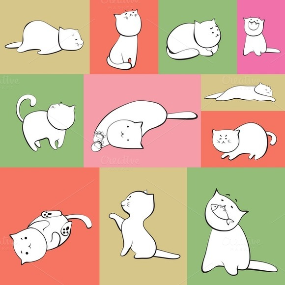 Set Of Vector Cats In Boxes