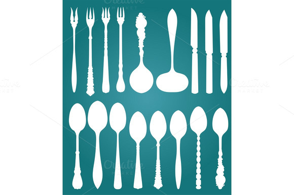 Vector Retro Cutlery On Blue Backgr