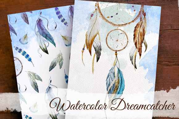 Set Of Watercolor Dreamcatcher