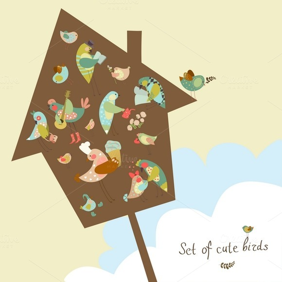 Vector Set Of Cute Birds
