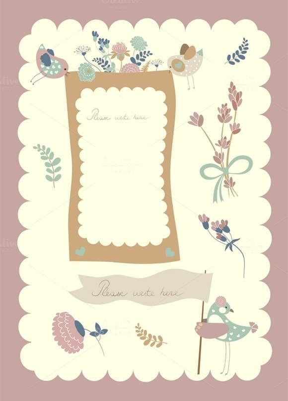 Borders Set With Birds And Flowers