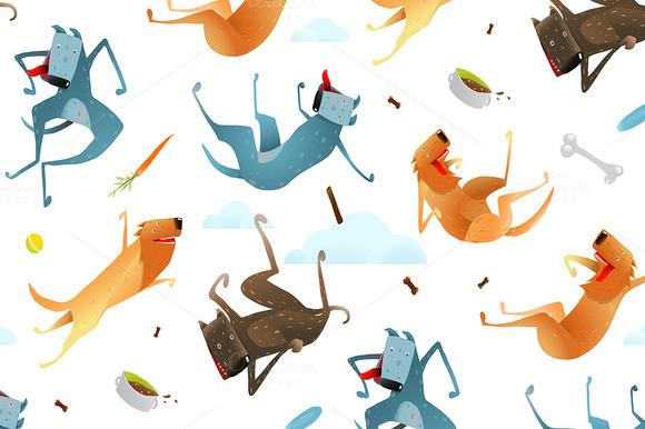 Dogs Seamless Pattern Background
