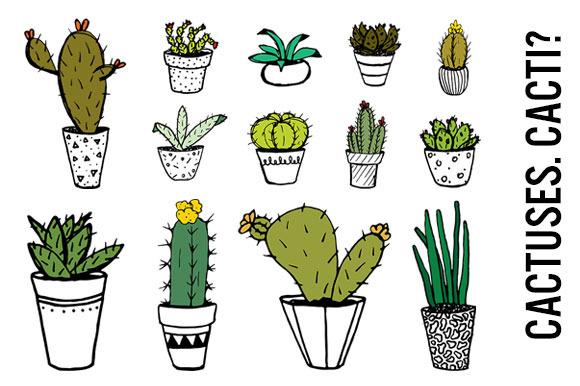 Potted Cactus Doodle Clip Art