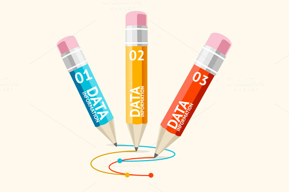 Vector Pencil Set Infographics Flat