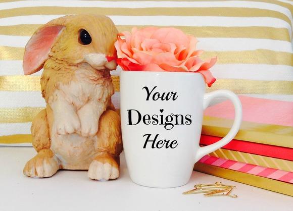Mug Mockup With Easter Bunny