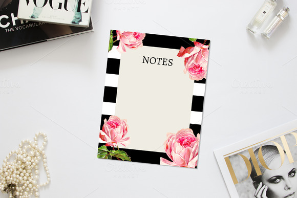 Bold Floral And Stripes Notes