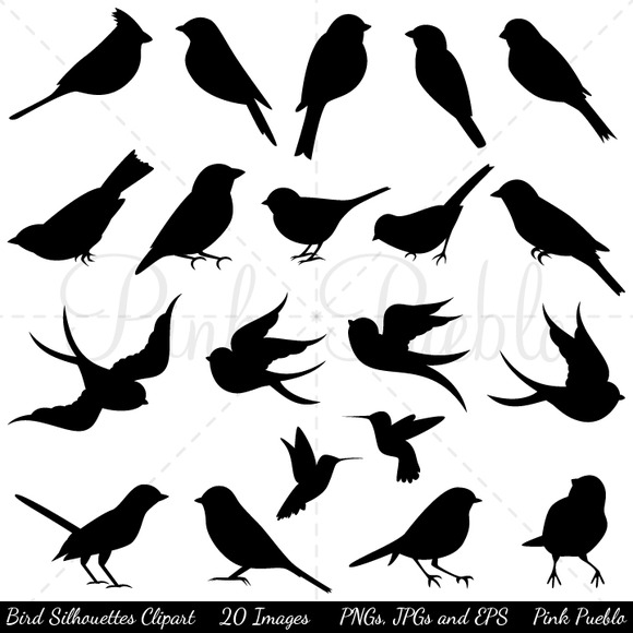 Bird Silhouettes Clipart Vectors