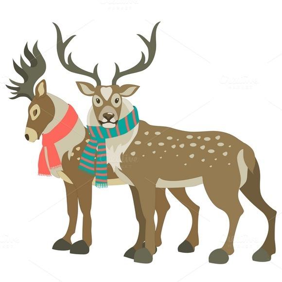 Two Cute Reindeers Wearing Scarves