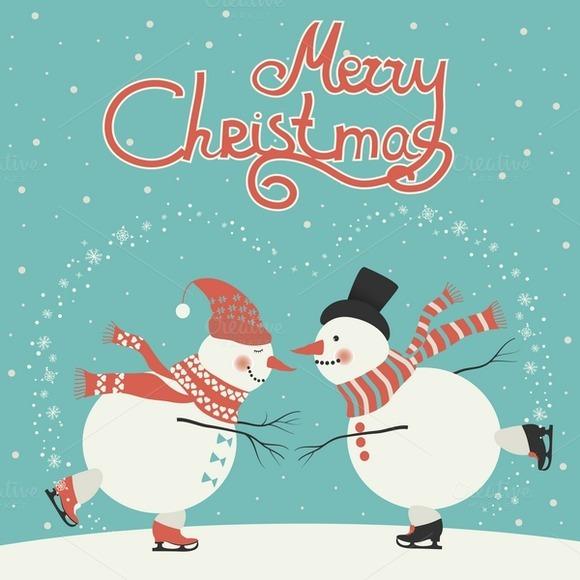 Two Ice Skating Cartoon Snowmen