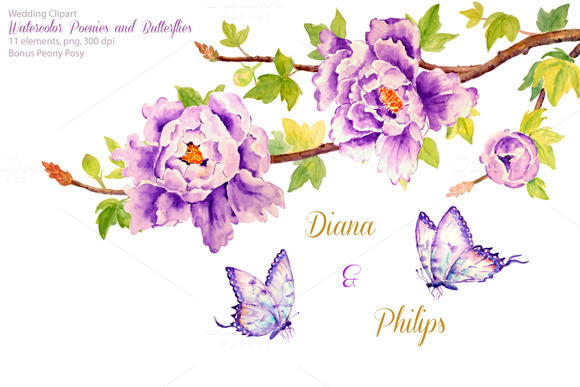 Wedding Purple Peonies Butterflies