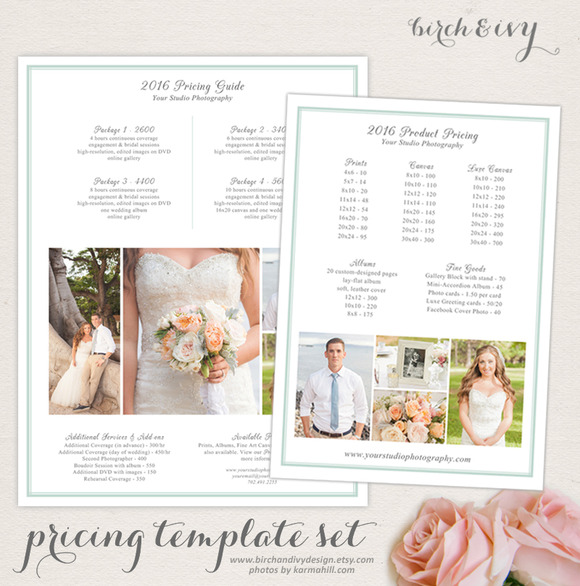 Photography Price Guide Templates