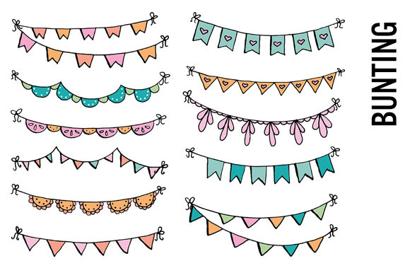 Bunting Banner Doodle Clip Art