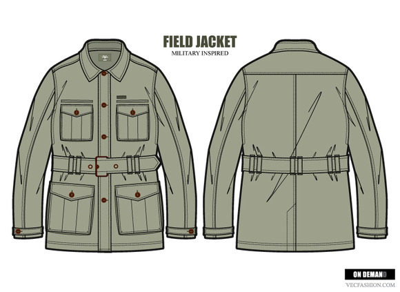 Men Field Jacket Fashion Template