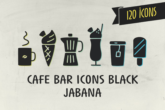 Cafe Bar Icons Black Jabana